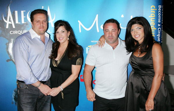 "NEWARK, NJ - JULY 15: Chris Laurita, Jacqueline Laurita, Joe Giudice and Teresa Giudice attend Cirque Du Soleil's ""Alegria"" at the Prudential Center on July 15, 2009 in Newark, New Jersey. (Photo by Jim Spellman/WireImage)"