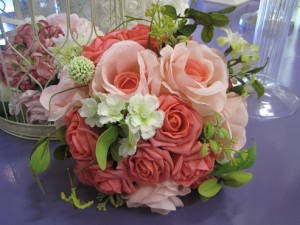 coral mix silk bouquet