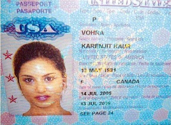 Sunny Leone's passport