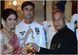 Sridevi receiving the award/facebook