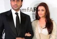 Abhishek and Aishwara at amFAR gala