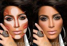 Kim Kardashian's perfectly contoured face