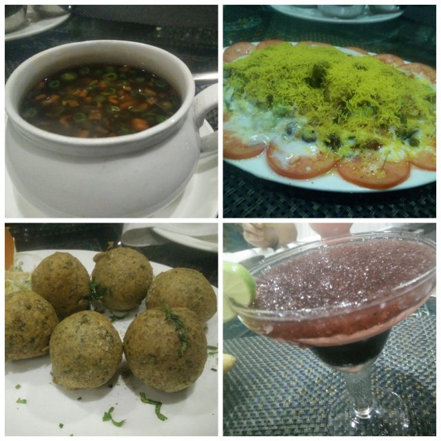 Soup, pan ke patte ki chaat. methi gota and kala khatta