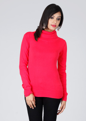 People Solid High Neck Casual Women's Sweater