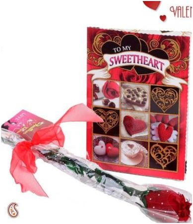 Real Feather Red Rose with Card