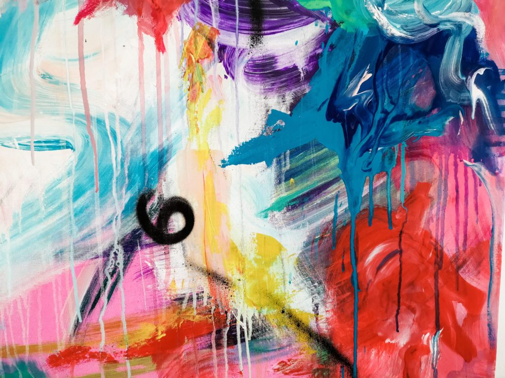 Multi coloured and textured Abstract painting on canvas