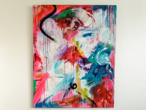 large abstract painting on colourful red canvas with blue white and pink dripping colours