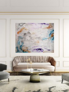 large abstract painting on canvas, pastels white,orange and blue tones