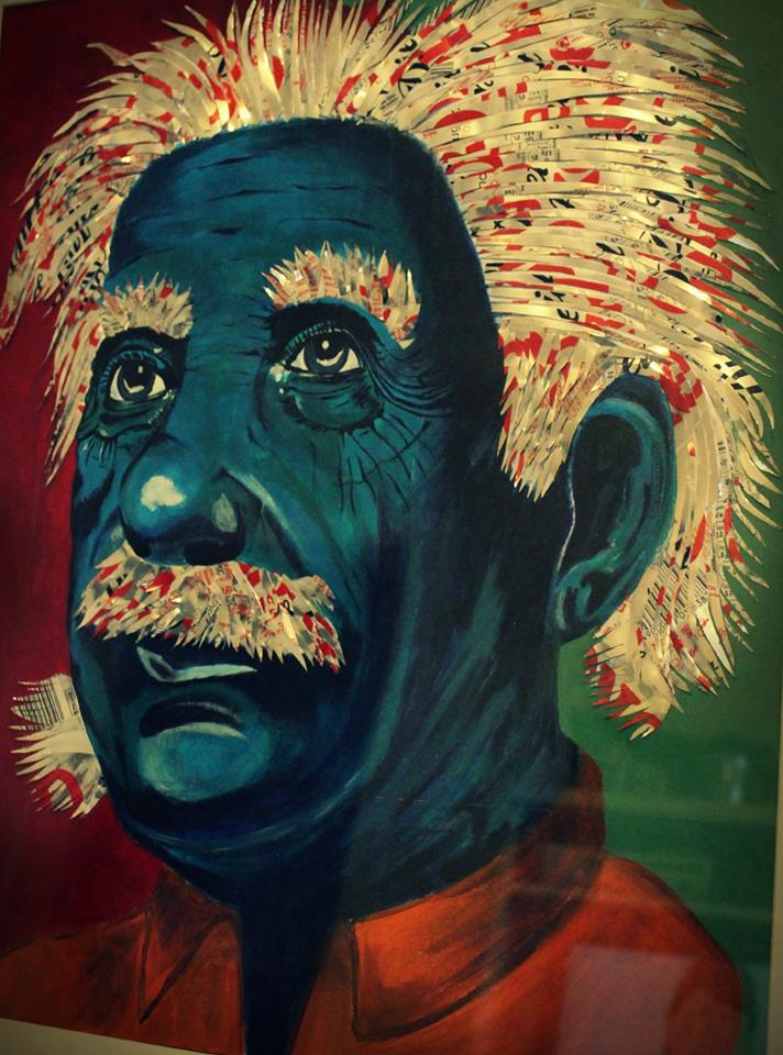 albert einstein portrait with blue face with aluminium can art hair and moustache