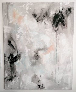 large black and white abstract painting on canvas with dripping black.