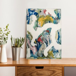 multicoloured abstract painting with red,blue and yellow with white painted lines going across