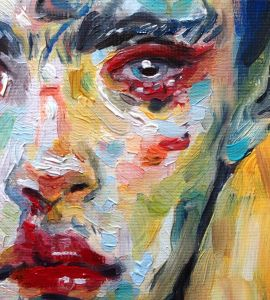 colourful abstract painting of womens face