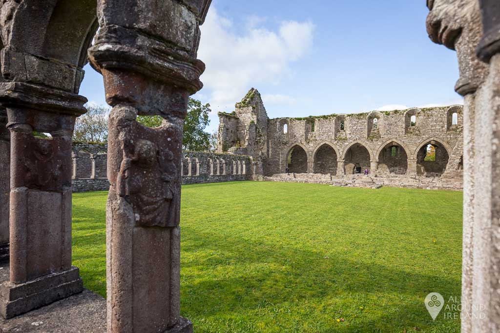 Stone carvings on the cloister at Jerpoint Abbey in Kilkenny, Ireland