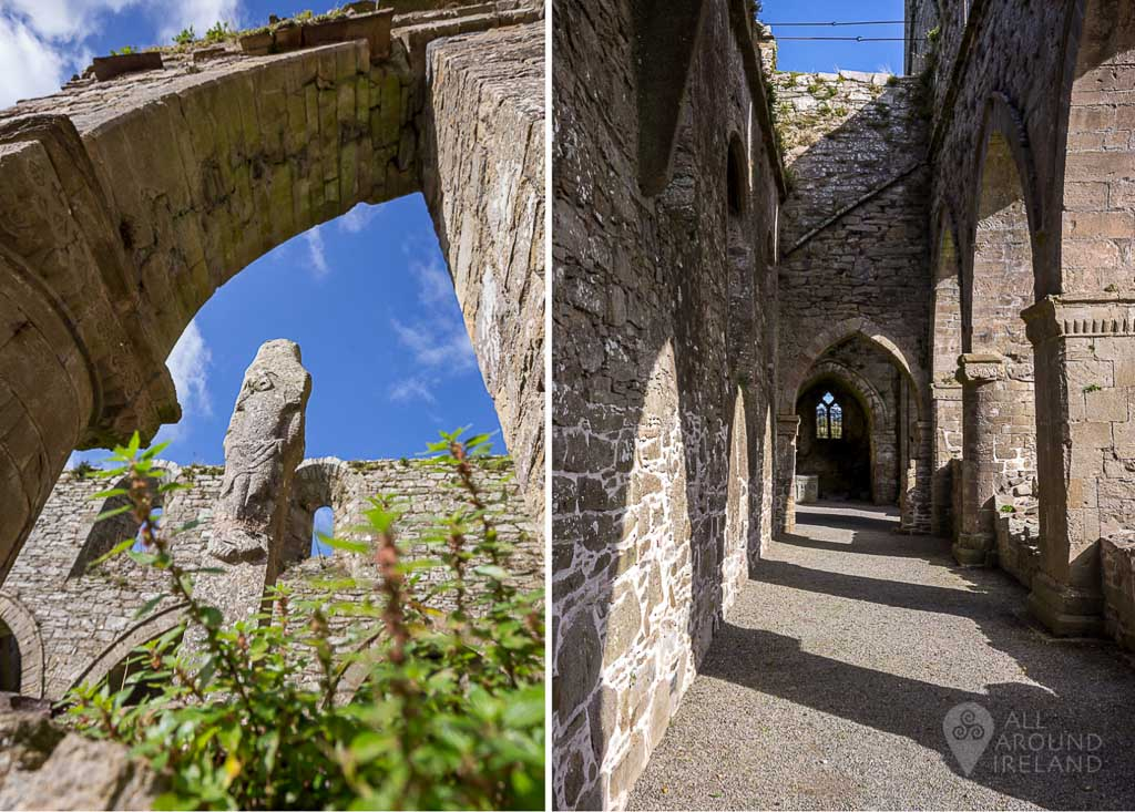 Stone carving and cloister arcade at Jerpoint Abbey in Kilkenny, Ireland.
