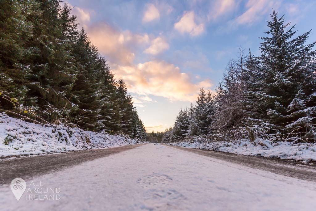 Snowy sunset in the Slieve Bloom Moutains on a snowy day