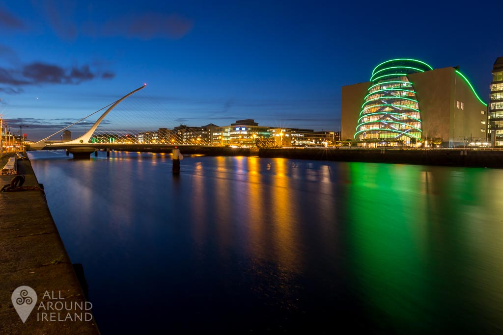 Dublin Covention Centre lit up in green for St Patrick's Day, 2017