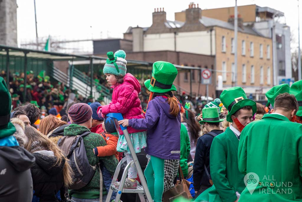 Children patiently waiting for the St Patrick's Day parade to start in Dublin
