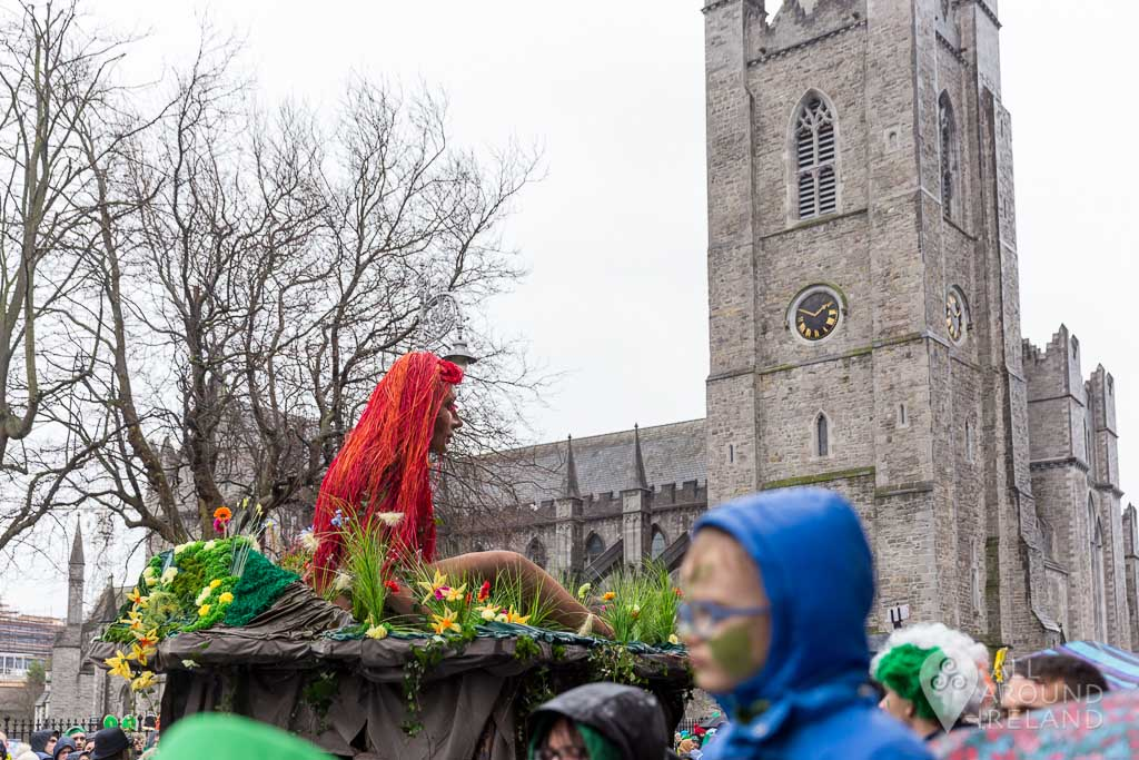 The St Patrick's Day parade passes St Patrick's Cathedral in Dublin