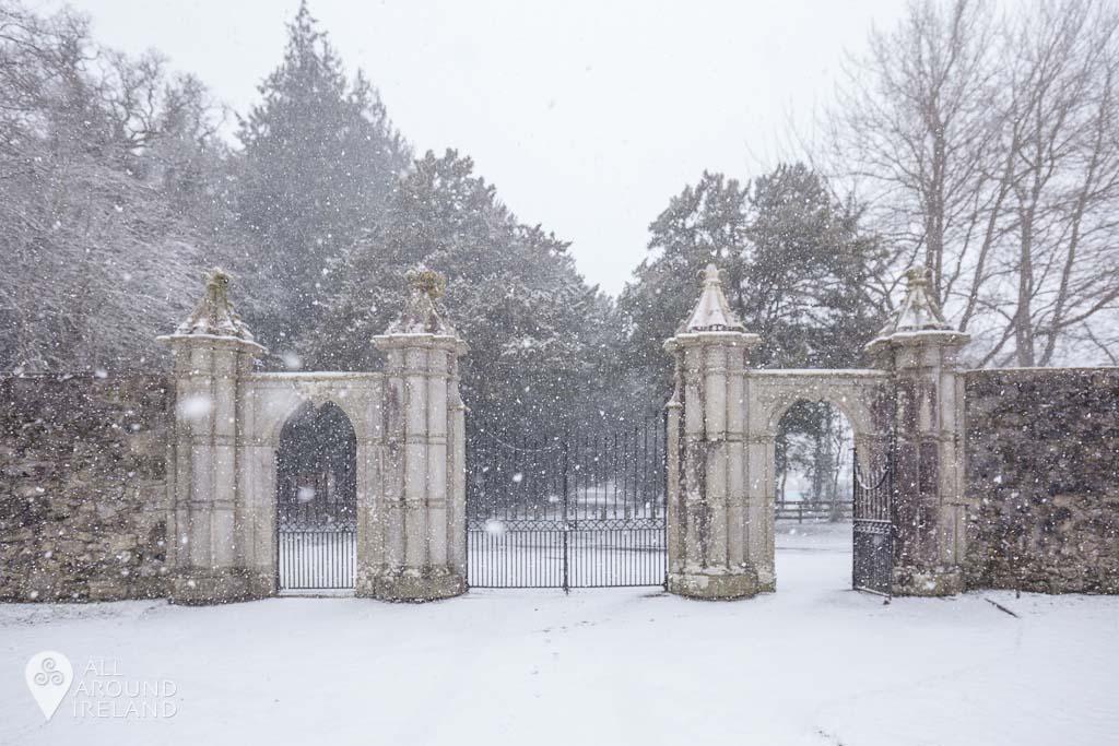The entrance gates at Portumna Castle