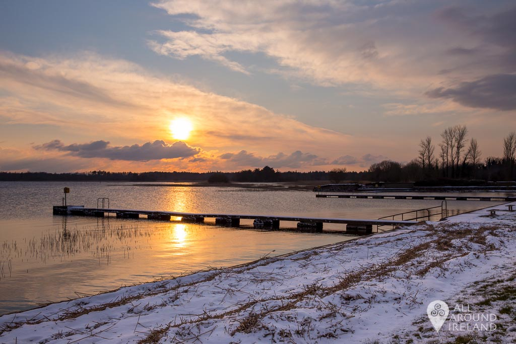 Sunset at the swimming area in Portumna during Storm Emma