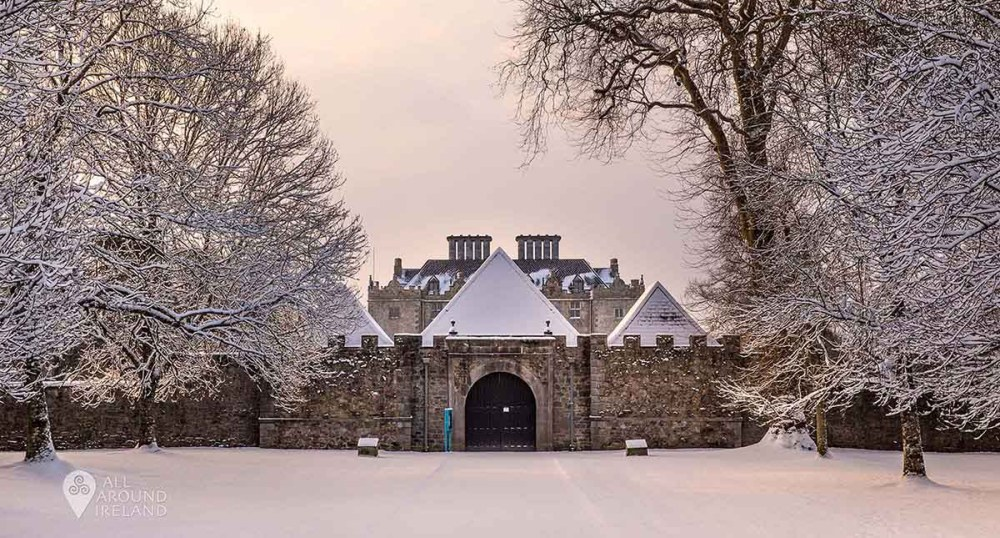 Close up of front entrance to Portumna Castle during storm Emma