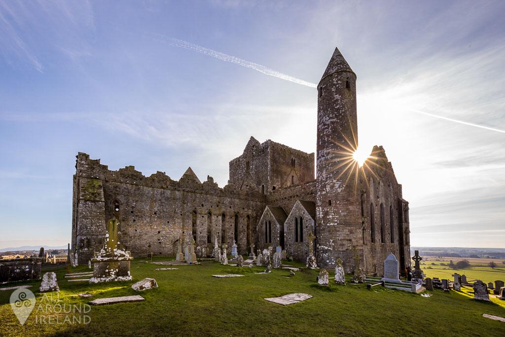 Sunburst over the buildings of the Rock of Cashel