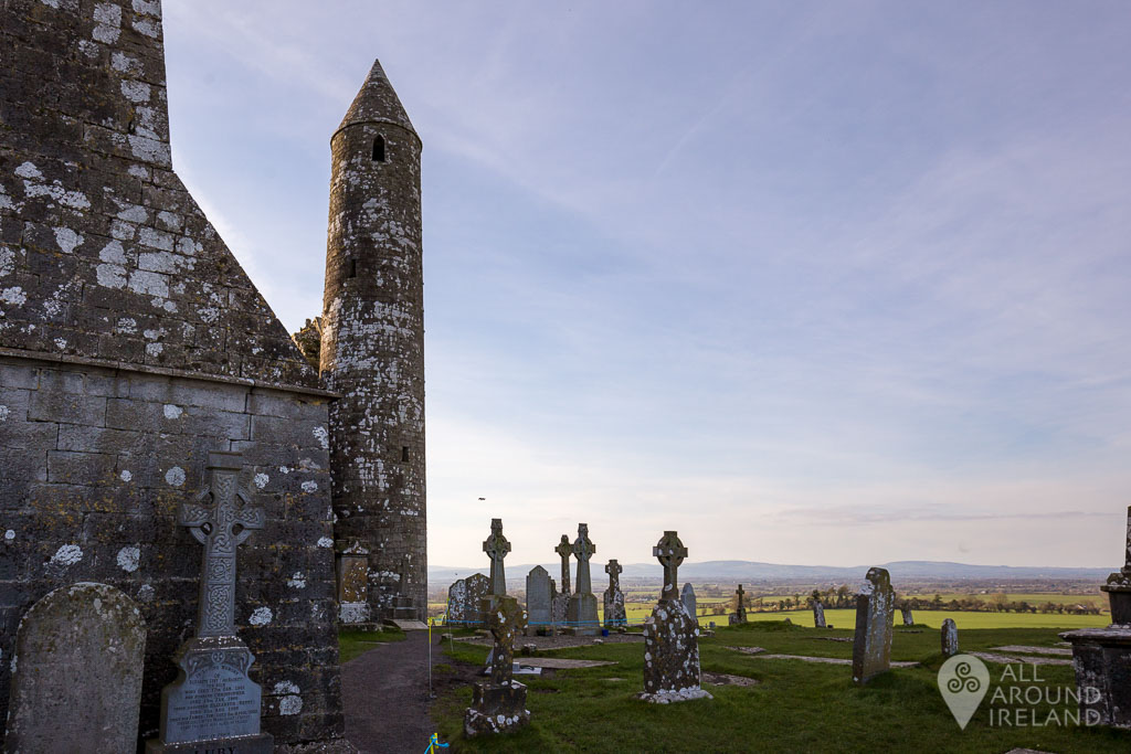 The round tower and high crosses at the Rock of Cashel, Tipperary, Ireland