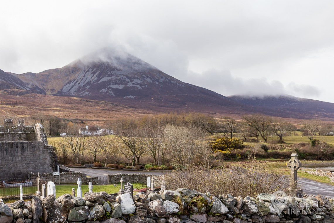 Cloud covers the top of Croagh Patrick mountain