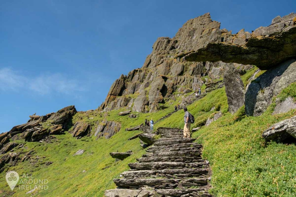 Very slowly making our way to the top of Skellig Michael