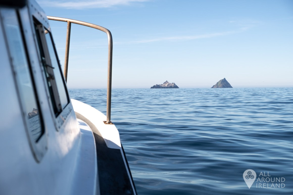 Headed in the right direction. View of the Skellig Islands from our boat.