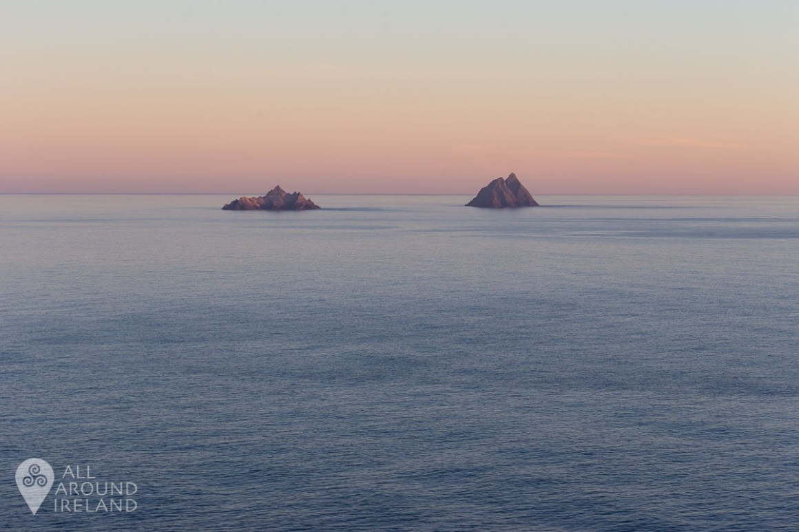 Pastel sunset over the Skellig Islands.