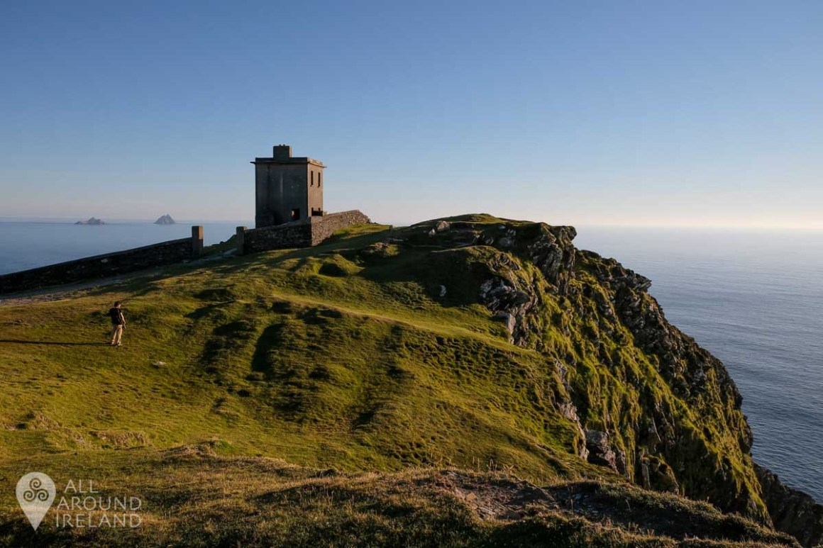 The signal tower with the Skellig islands in the background.