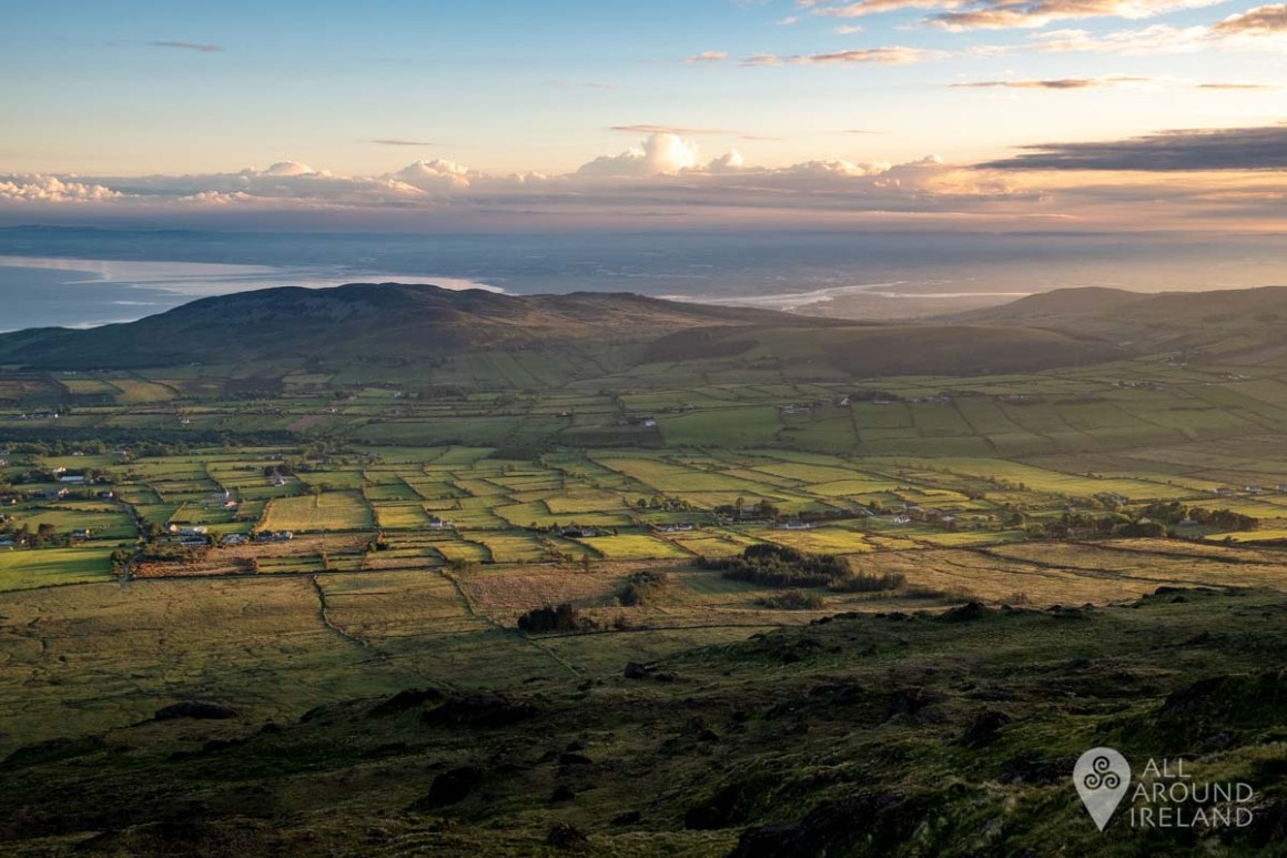 View of patchwork fields from Slieve Foye