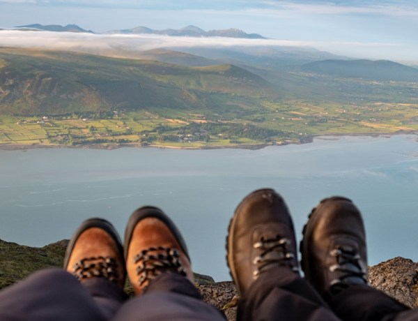 Our boots enjoying the views from Slieve Foye