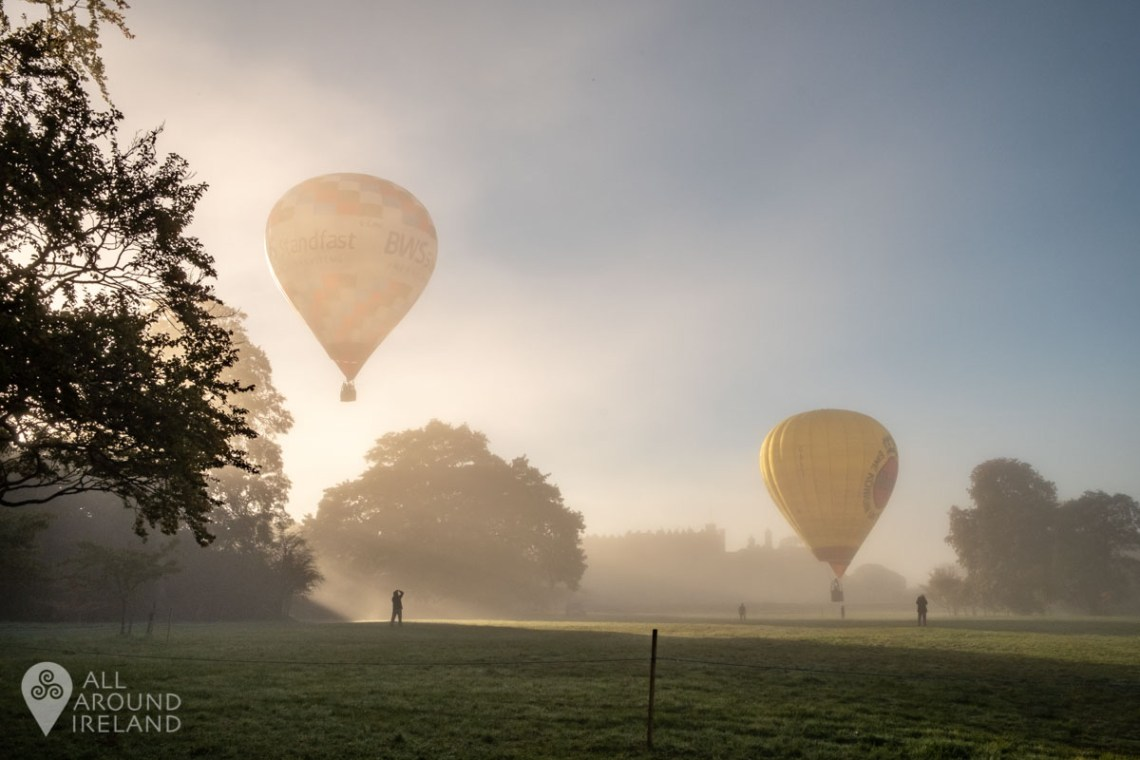 Two hot air balloons launching from the grounds of Birr Castle. Irish Hot Air Ballooning Championships 2018.