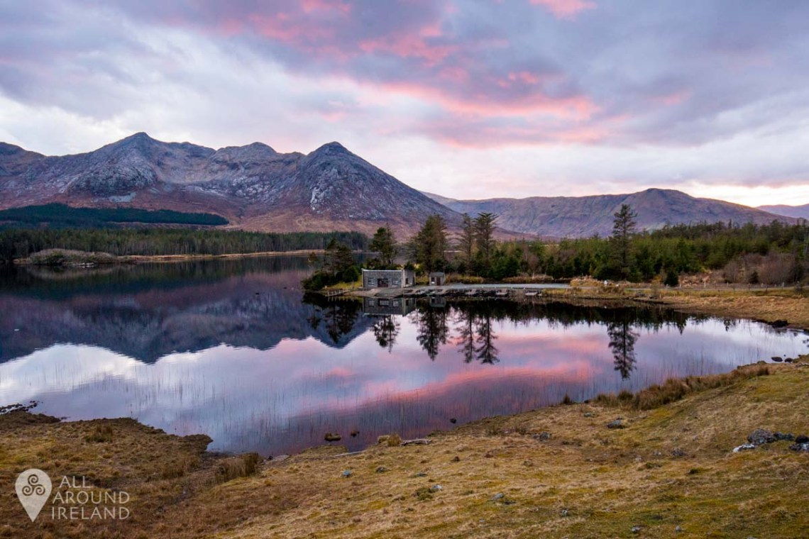 Sunset colours reflected in Lough Inagh.