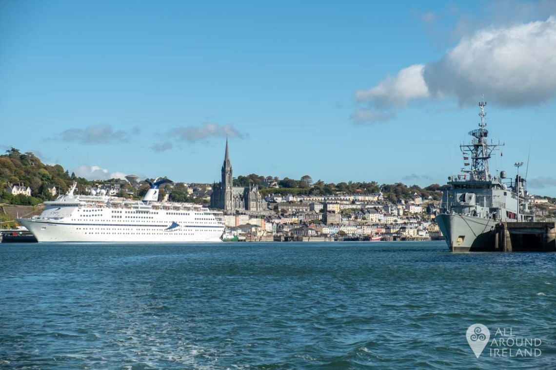 A cruise ship in port and a naval ship docked at Haulbowline as we make our way to Spike Island.