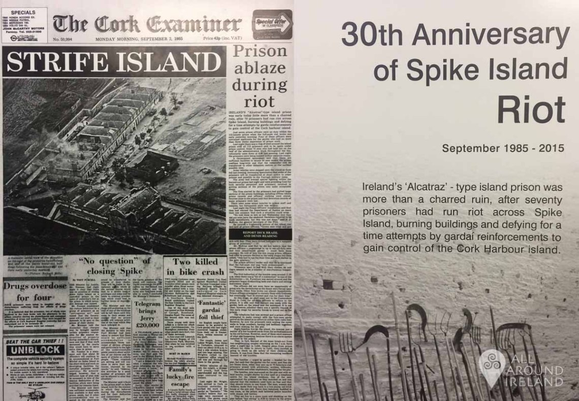 An old newspaper article and information panel about the 1985 riot on display at Spike Island