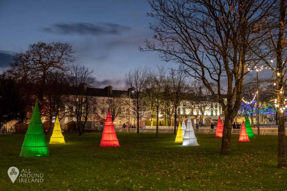 Lights on the green at Eyre Square for the Galway Christmas Market