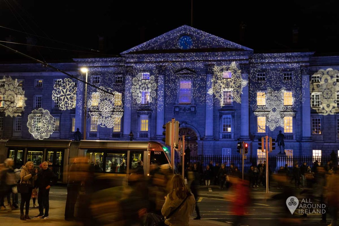 Trinity College illuminated as part of Winter Lights Dublin City.