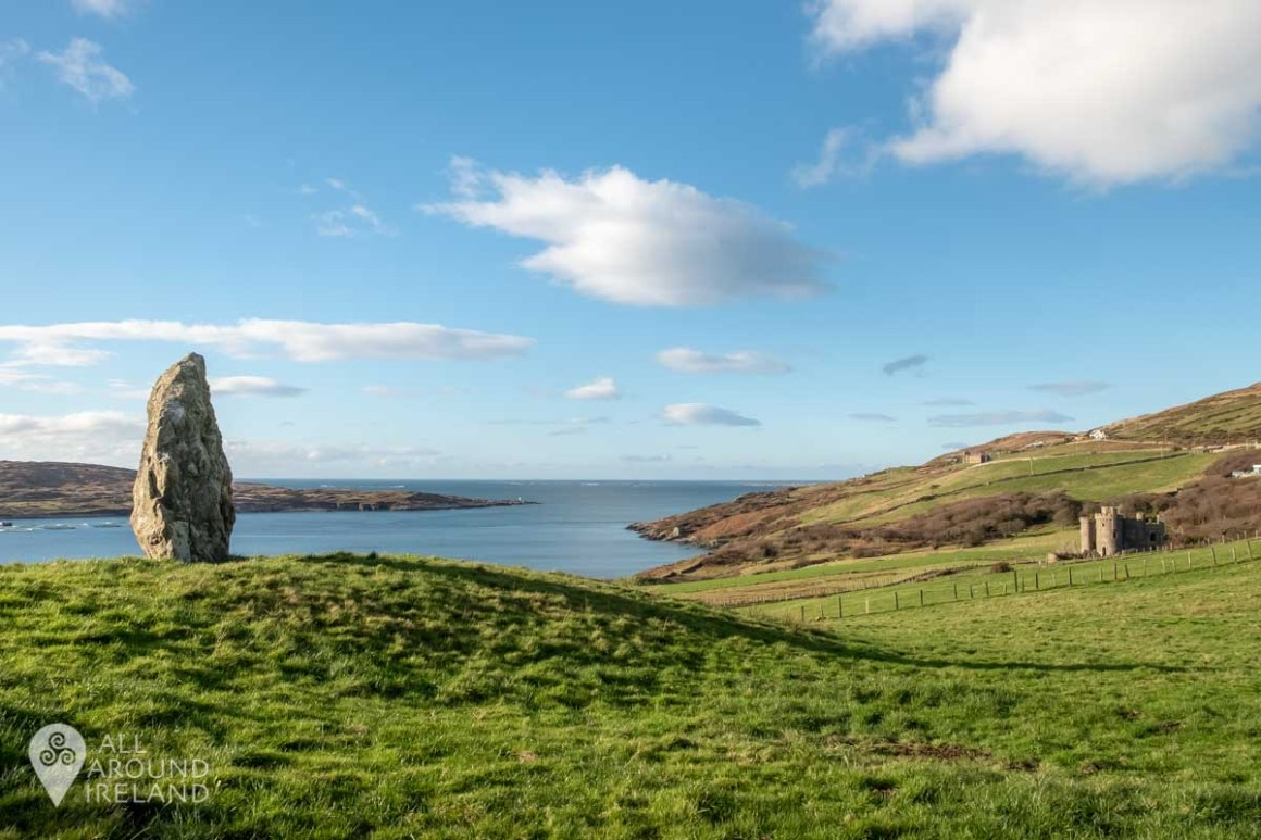 One of the standing stones along the pathway to Clifden Castle