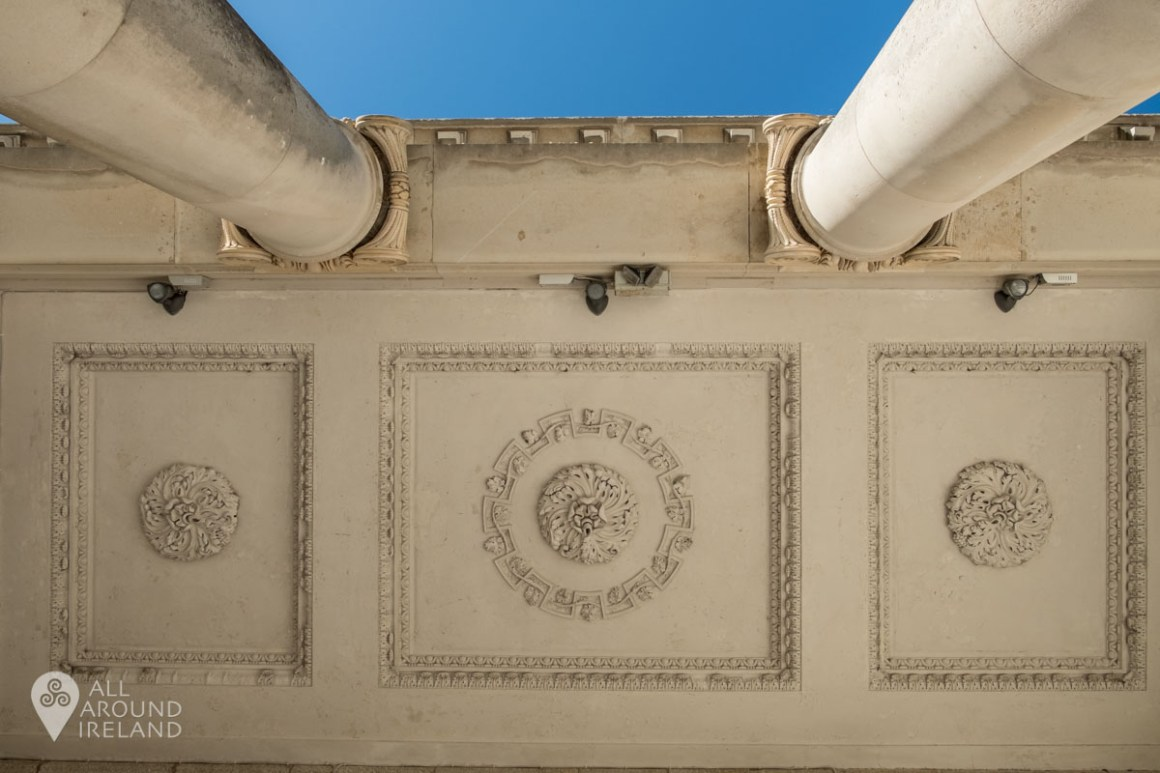 Looking up at the plasterwork on the front porch at Emo Court from the steps below