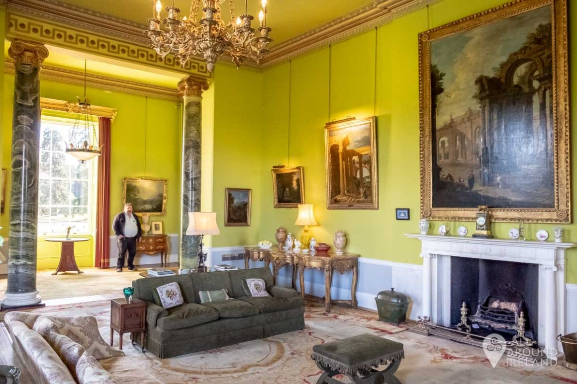The bright coloured living room at Emo Court