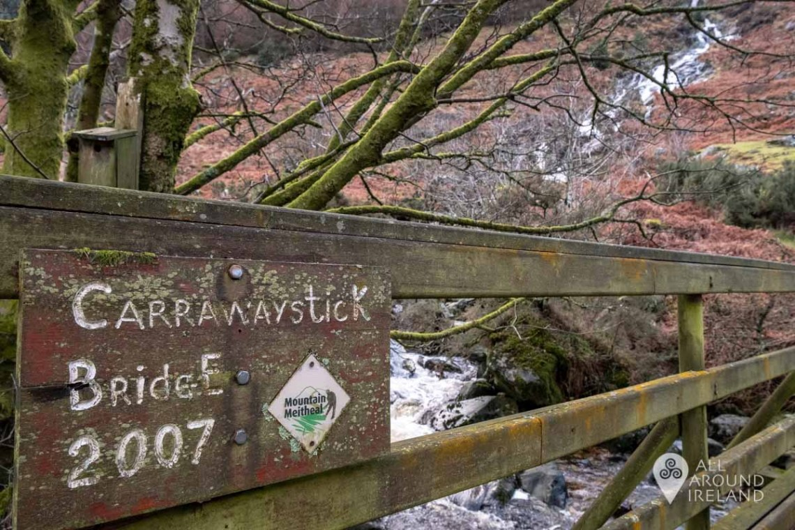 Carrawaystick Bridge. The wooden bridge was built by volunteers in 2007.