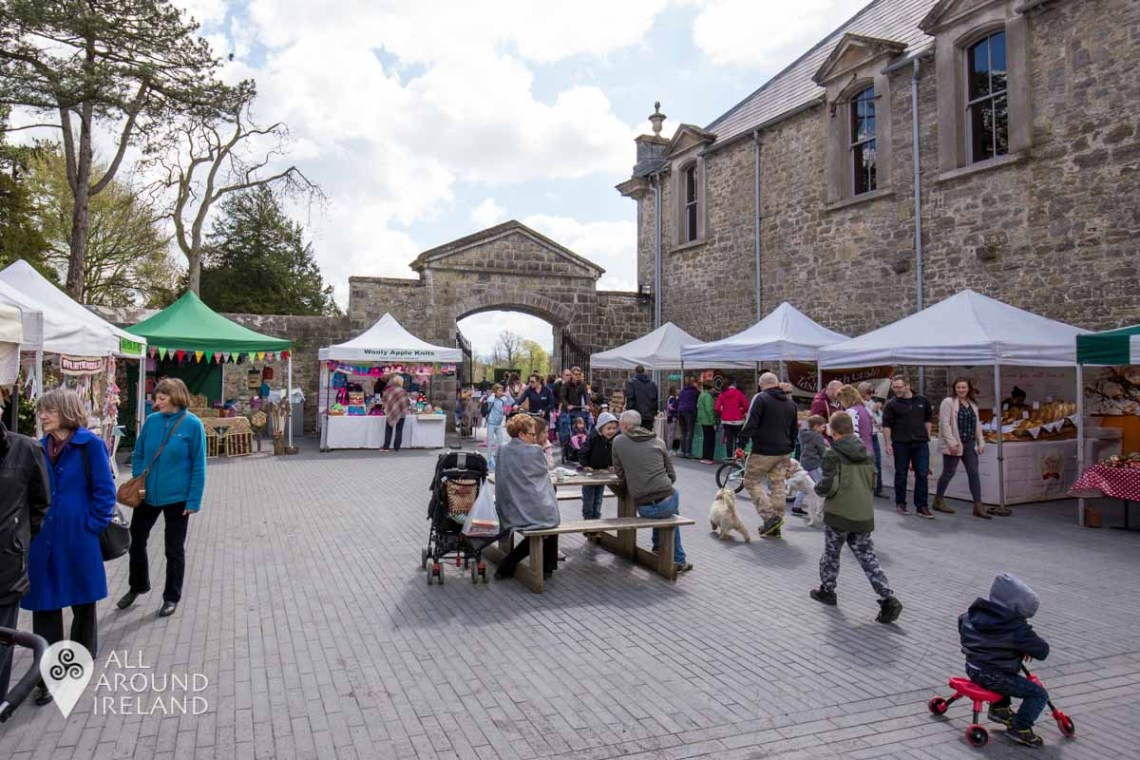 A market taking place at Castletown in the courtyard