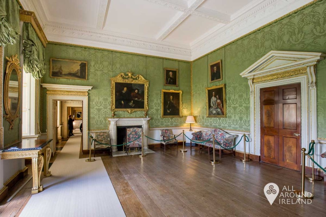 The Green Drawing Room at Castletown. The walls are lined with pale green silk damask.