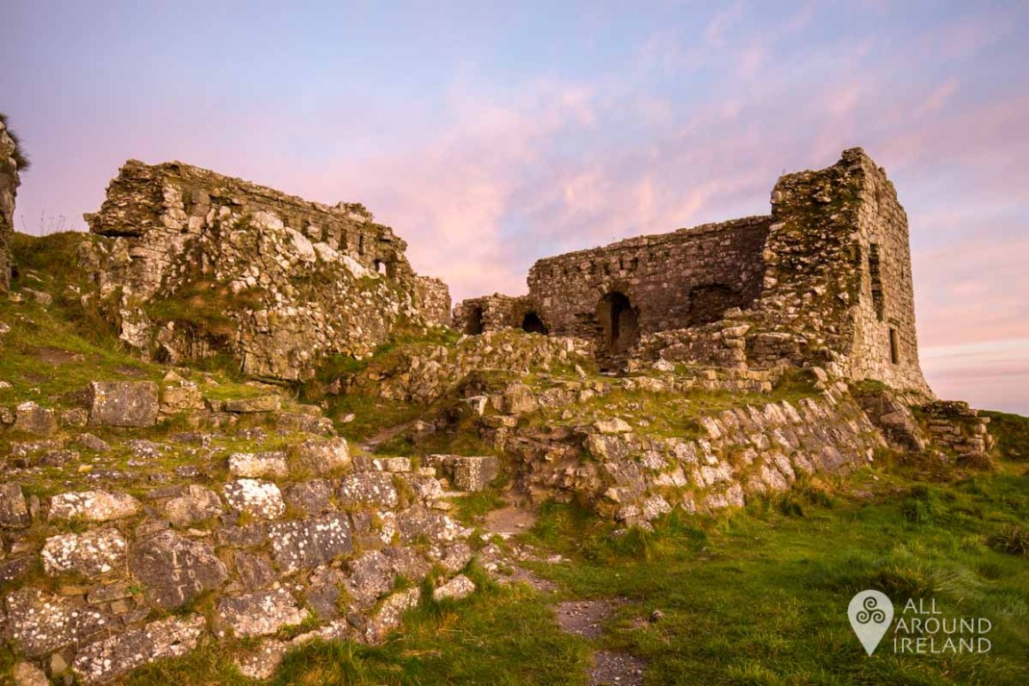 Looking up at the remains of the Great Hall on the summit of the Rock of Dunamase