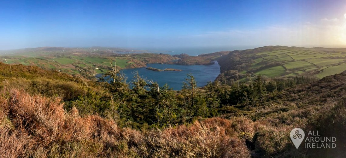 Panoramic shot of Lough Hyne from the summit of Knockomagh Hill