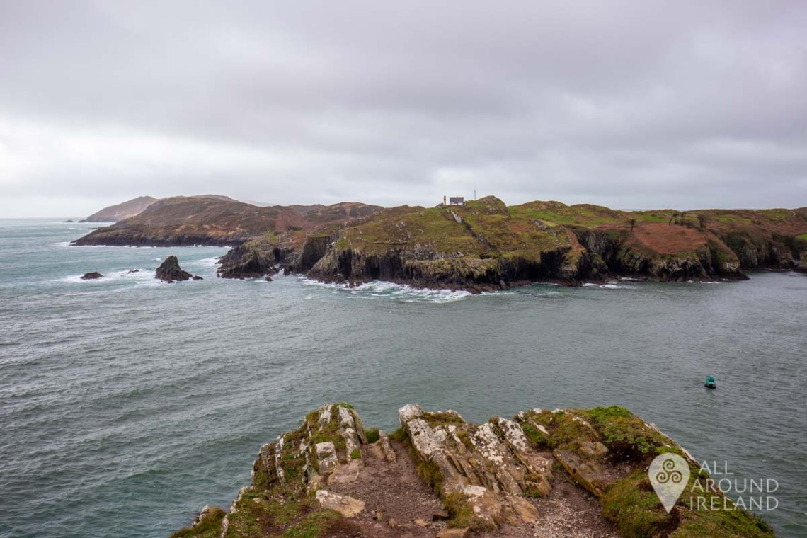 Looking across to Sherkin Island from Baltimore. The weather is bleak and grey.