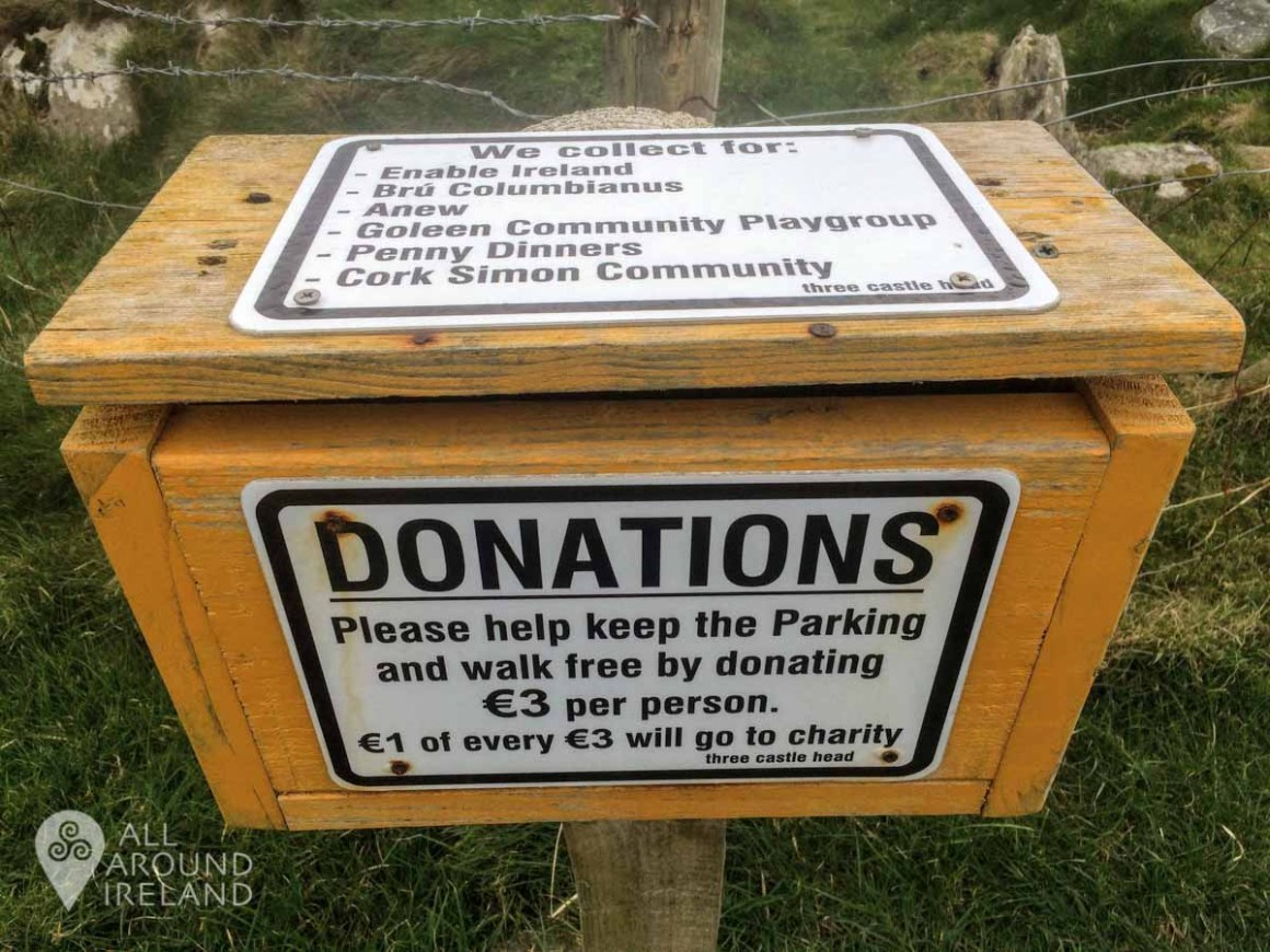 Donation box on the trail to Dunlough Castle